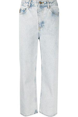 Ganni Ženy S vysokým pasem - Washed high-waisted cropped jeans