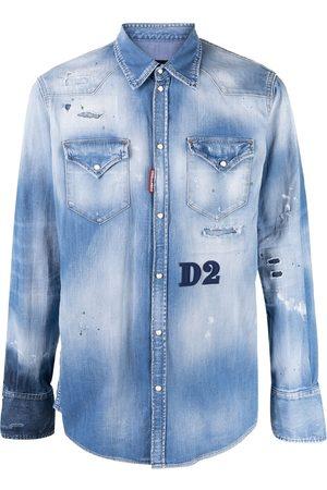 Dsquared2 Muži Džínové košile - Distressed denim shirt