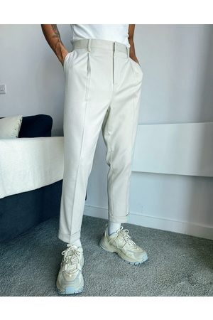 ASOS Tapered smart trousers in white-Beige