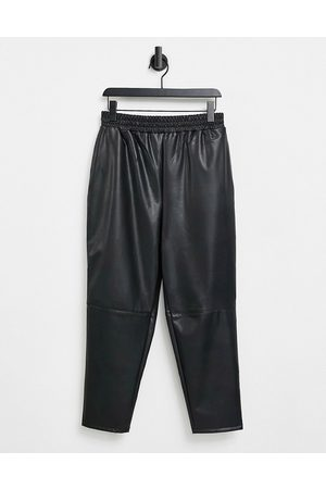 ASOS Hourglass leather look jogger-Black