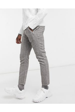 ASOS Skinny trousers in herringbone-Brown