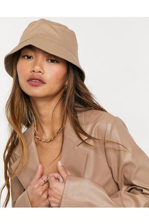 ASOS DESIGN Cotton bucket hat with improved fit in stone-Neutral