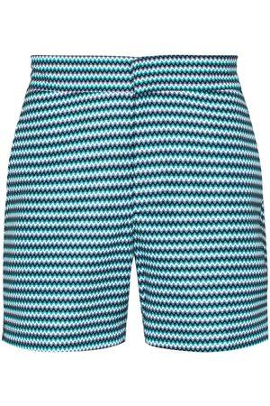 Frescobol Carioca Blue Copacabana chevron stripe swim shorts
