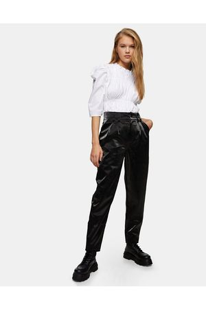 Topshop Faux suede trousers in black snake