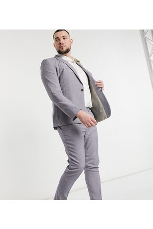 ASOS Plus wedding super skinny suit trousers in dark grey cross hatch