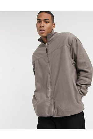 ASOS Oversized polar fleece track jacket in light brown