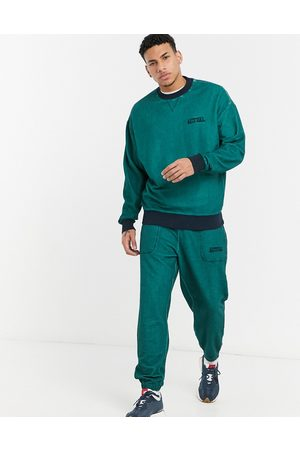 ASOS Co-ord oversized joggers in teal reverse loopback with wash and embroidery-Green