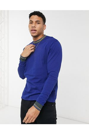 ASOS Relaxed long sleeve t-shirt with tipping-Blue