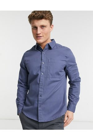 New Look Twill long sleeve shirt in mid blue