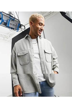 ASOS Oversized wool mix overshirt in light grey