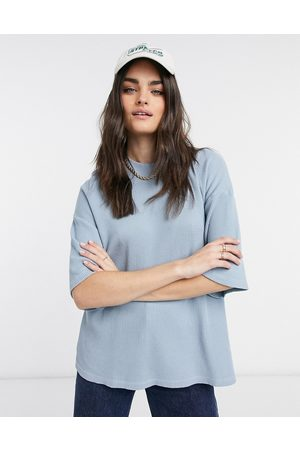 ASOS Oversized t-shirt in waffle with high neck-Multi