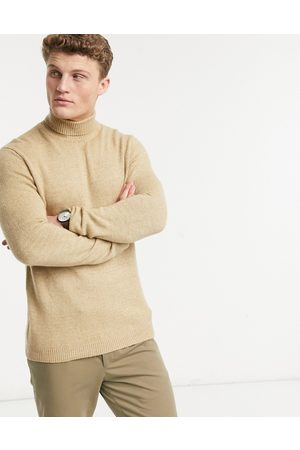 ASOS Knitted roll neck jumper in soft camel yarn-Tan