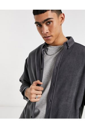 ASOS 90s oversized fleece shirt in dark grey