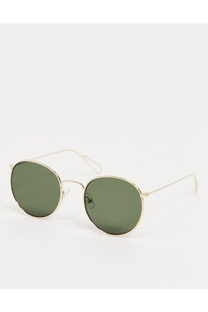Weekday Muži Sluneční brýle - Explore Rounded Sunglasses in Gold with Green Lenses
