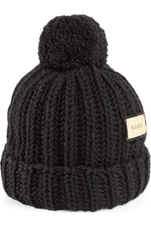 Gucci Muži Klobouky - Logo patch knitted hat