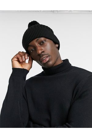 ASOS Bobble beanie in black cable knit