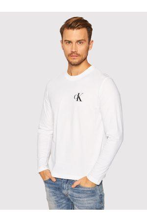 Calvin Klein Muži S dlouhým rukávem - Pánské bílé tričko s dlouhým rukávem