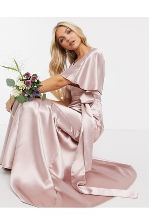 ASOS Bridesmaid satin kimono sleeve maxi dress with panelled skirt and belt in Pink