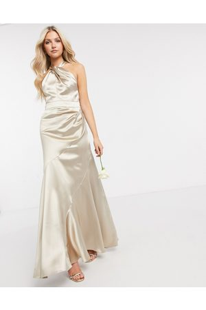 ASOS DESIGN Bridesmaid satin halter maxi dress with panelled skirt and keyhole detail-Neutral