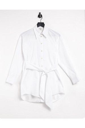 River Island Ženy Bez zad - Open back poplin shirt in white