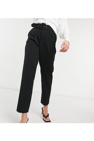 Vero Moda Cigarette trouser with belted waist in black