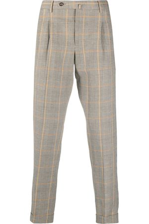 PT01 Pressed check linen-blend trousers