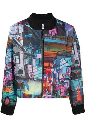 DUOltd Graphic-print zipped bomber jacket