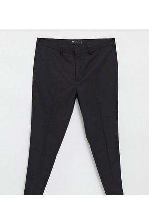ASOS Plus wedding super skinny suit trousers in black micro texture