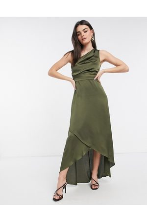 TFNC Bridesmaid one shoulder maxi dress in green-Brown