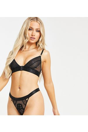 Knickerbox Planet Free Spirit recycled spot mesh and lace mix thong in black