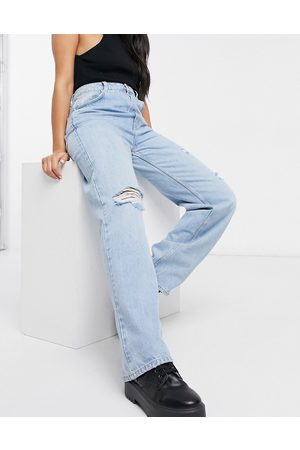 Pull&Bear Dad jeans in light blue with rips