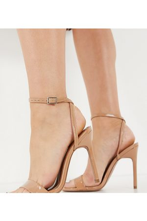 ASOS Wide Fit Nala barely there heeled sandals in beige