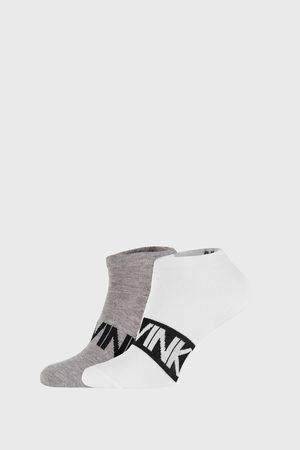 Calvin Klein 2 PACK šedobílých ponožek Dirk