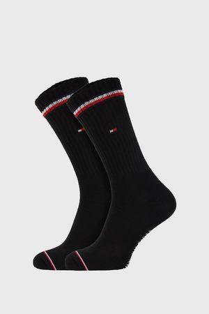 Tommy Hilfiger 2 PACK černých vysokých ponožek Iconic