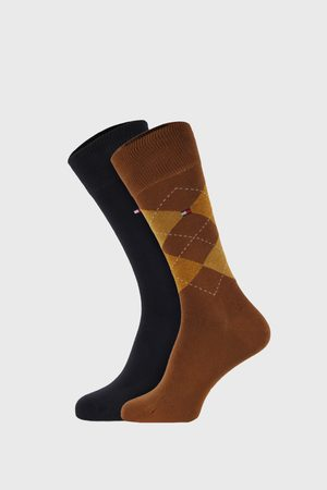 Tommy Hilfiger 2 PACK khaki ponožek Check