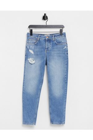 ASOS Classic rigid jeans in vintage light wash blue with abrasions