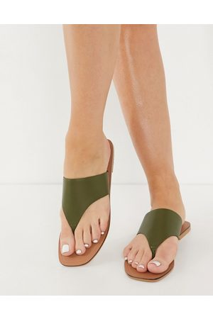 ASOS Folly leather toe thong sandals in khaki-Green
