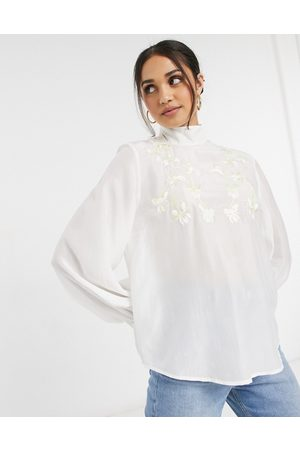 & OTHER STORIES Floral embroidered blouse in cream