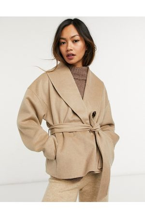 & OTHER STORIES Recycled wool cropped tie waist jacket in camel-Beige