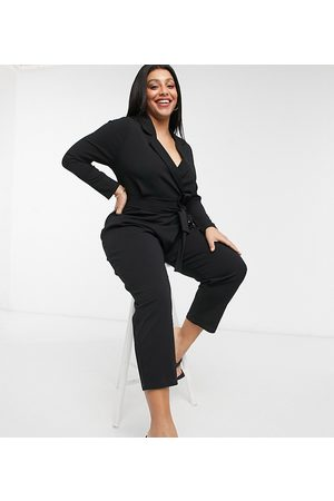 ASOS Ženy Overaly dlouhé - ASOS DESIGN curve long sleeve tux crepe jumpsuit in black