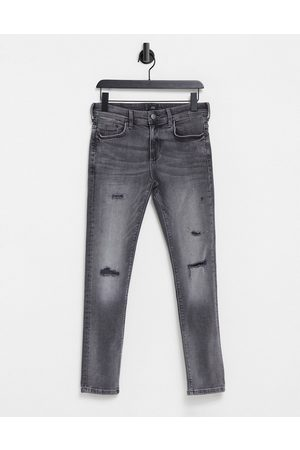River Island Skinny jeans with rips in grey
