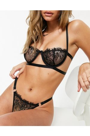 I saw it first Lace cut out lingerie set in black