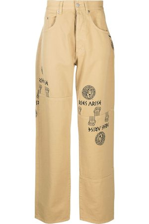 ARIES Logo graphic print straight-leg jeans