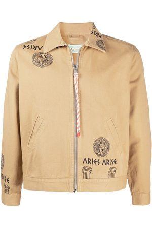 ARIES Temple print zipped denim jacket