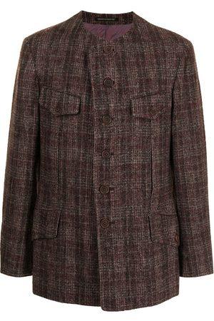 YOHJI YAMAMOTO Collarless checked blazer