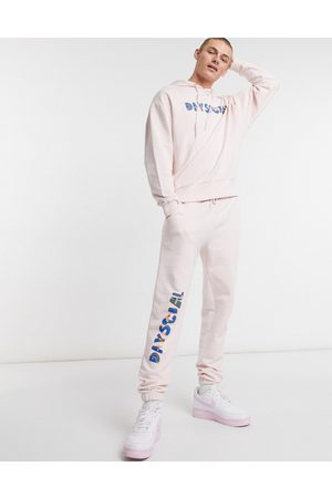 ASOS ASOS Daysocial co-ord tapered joggers with logo print in light pink