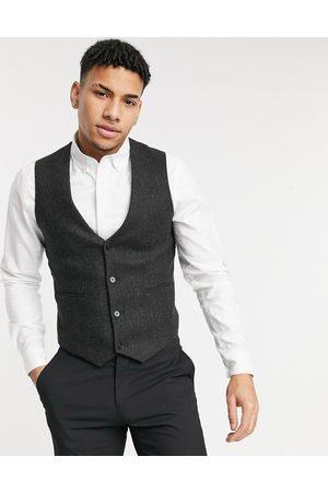 ASOS Skinny wool mix suit waistcoat in brown herringbone
