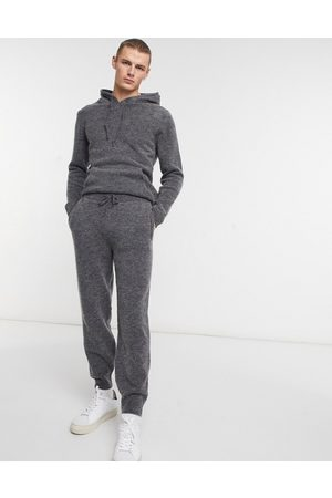 ASOS Muži Tepláky - Knitted co-ord soft yarn joggers in charcoal-Beige