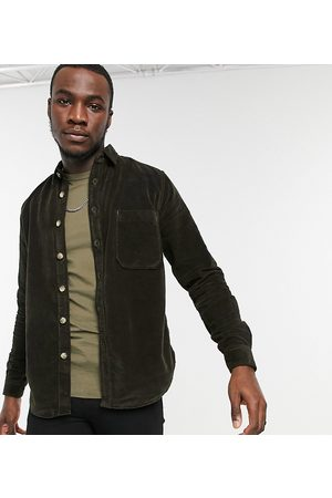 ASOS Tall moleskine effect overshirt with mock horn buttons in green