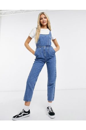 ASOS Ženy Overaly dlouhé - Denim square neck fitted jumpsuit in midwash-Blue